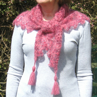 Crochet shawl. Mohair and silk shawl crochet shawl with tassels. Gossamer light.