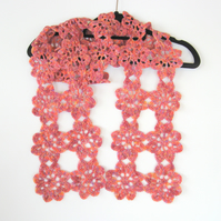 Crochet flower scarf. Lovely and long. Unique. Hand crocheted.  Lovely gift.