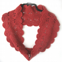 Pure wool and baby alpaca crochet cowl in rose pink. Unique.