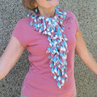 Funky and unique crochet scarf. Luxury yarn. OOAK. Own design.