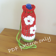 Pattern.  Bottle holder. Crochet drink carrier pattern.  Photo tutorial.