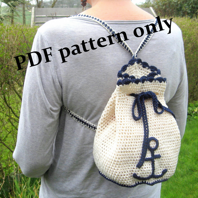 Backpack. Crochet backpack pattern. PDF download. For adult or child.