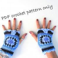 Crochet wrist warmers. Crochet pattern for fingerless gloves. PDF pattern.