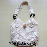 Bag. Crochet bag tutorial. PDF crochet pattern. Lined crochet cotton bag. Purse.