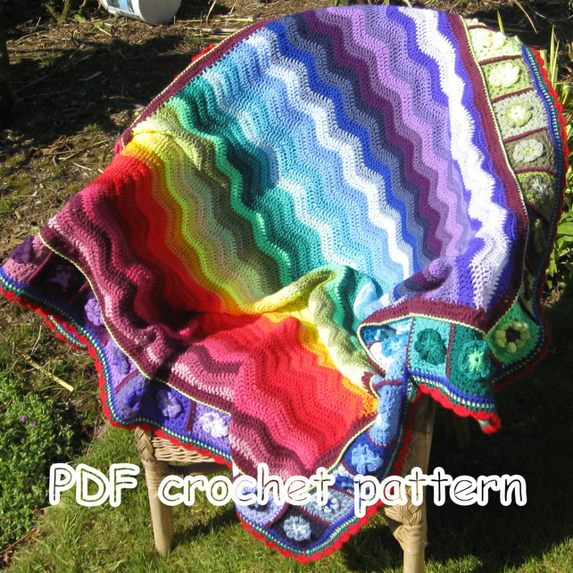 Pattern. Afghan. Blanket.Crochet blanket Photo tutorial. PDF pattern.