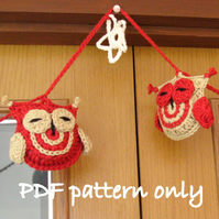 Owl crochet garland pattern. PDF download.Cheeky crochet owl bunting .
