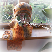 Granny square crochet hat and scarf crochet pattern for adult. Photo tutorial.