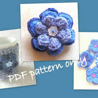 Pattern. 3 simple flowers pattern. Mug cosy. Bunting. Brooch. Photo tutorial.