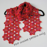 Pattern. Flower scarf pattern. Light and lovely scarf.  PDF crochet pattern.