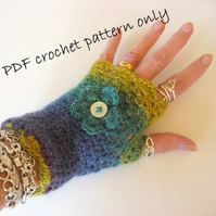 Pattern.Finger less gloves.Crochet pattern. PDF email download. Photo tutorial.