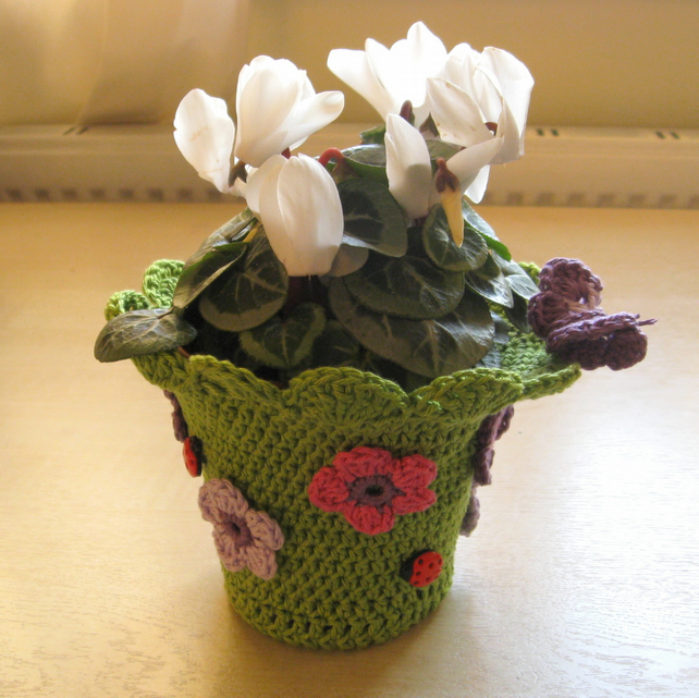 Flower pot cover. Crochet pattern. Photo tutorial. PDF pattern.