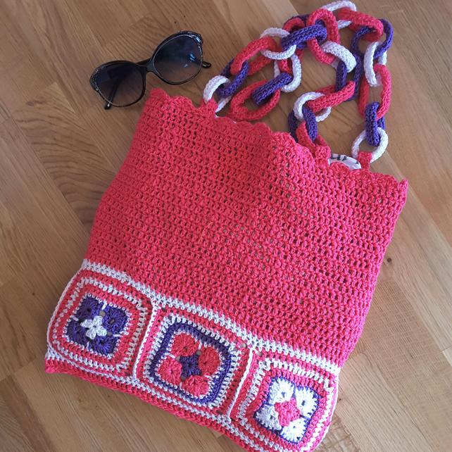 Bag.Tote.Crochet tote bag.Boho bag.Craft bag.Holiday bag.Knitting bag.Book bag.