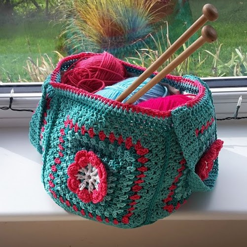 Bag. Free postage to UK. Crochet bag. Square tote bag. Craft bag. Fully lined.