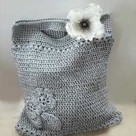 Silver bag, tote bag, market bag, hand bag.  Hand crocheted. Fully lined.