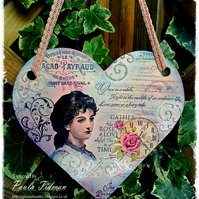 Vintage Style stamped and painted large  wooden heart