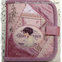 Hand crafted Vintage styled crazy patchwork notebook holder