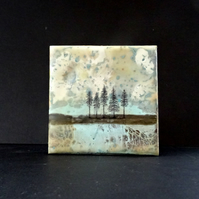 Original Encaustic Painting - Trees - Abstract - Scotland