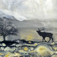 Scottish Highlands - Original Encaustic Painting - Stag