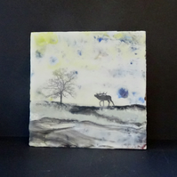 Abstract Highland Landscape - Encaustic Painting - Stag