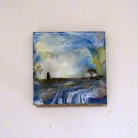 Moon Gazing Hare - Original Encaustic Painting - Scotland
