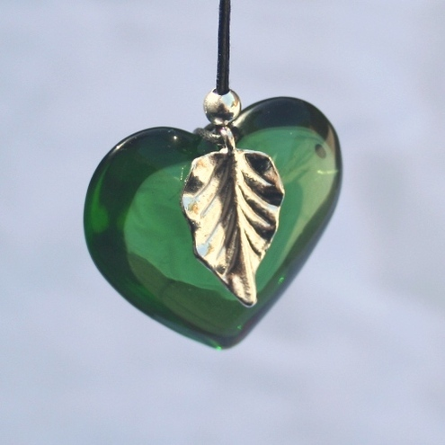 Orchard pendant - green glass heart with silver leaf