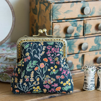 Coin purse made with Liberty lawn the print: 'Tess and Rosa', a dark floral