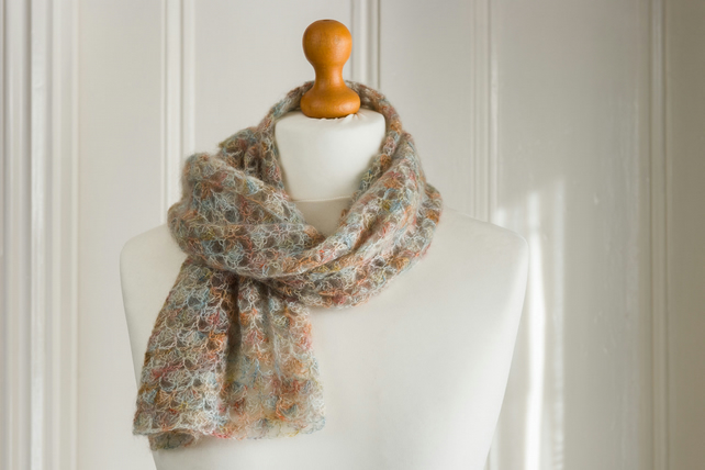 Lace muffler or scarf crocheted with soft and airy lace mohair and silk yarn in
