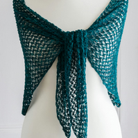 Crochet silk shawl, made with a hand dyed pure mulberry silk in jewelled green