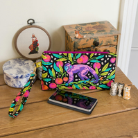 Wristlet purse or small clutch made with Tula Pink print, 'Monkey Wrench'