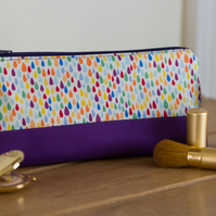 Zip pouch in Rainbow Drops - a zippered pouch in a really useful size