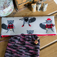 DPN holder, cosy or case for 8 inch dpns made with fun Burly Beavers print