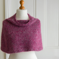 This capelet is 'The Hug' - super soft and warm mini cape or shoulder cosy