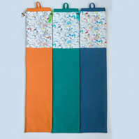 Yarn Swift storage bag made with Liberty lawn, cotton contrast & ticking lining