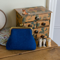 Larger size coin purse in blue Harris Tweed with Liberty lawn lining