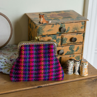 Larger coin purse in Harris Tweed with a lilac silk lining and card pocket