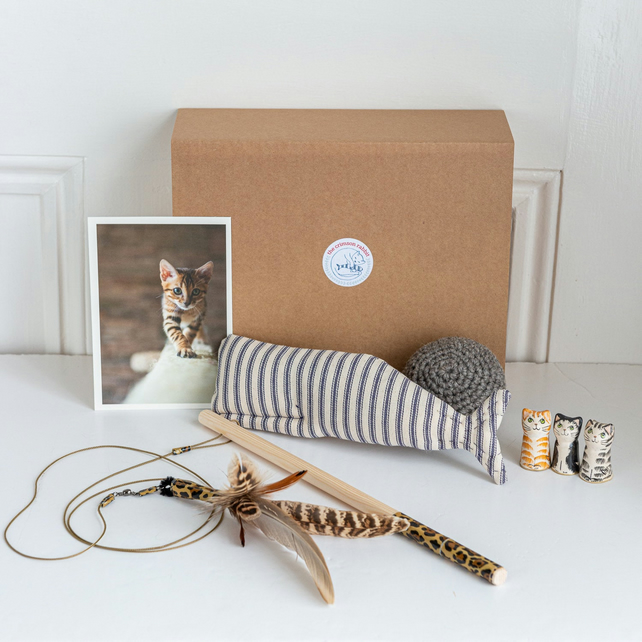 Cat toys and gifts - The kitty cuddle collection - a gift box of handmade cat to