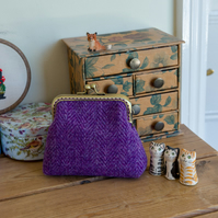 Larger coin purse in purple Harris Tweed with a garden themed Liberty lining