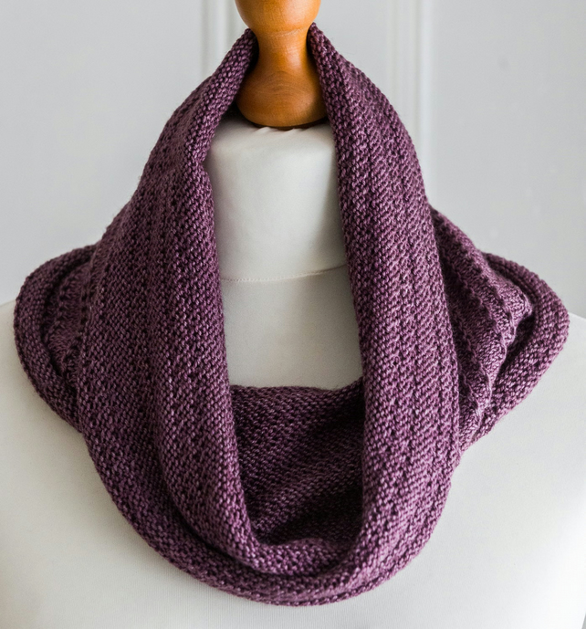 This cowl is a luxurious hand knit cowl made with merino, silk and yak yarn
