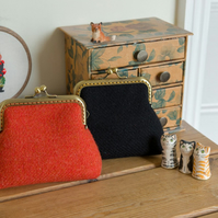 Frame purse made with hand woven Harris Tweed and Liberty Tana Lawn