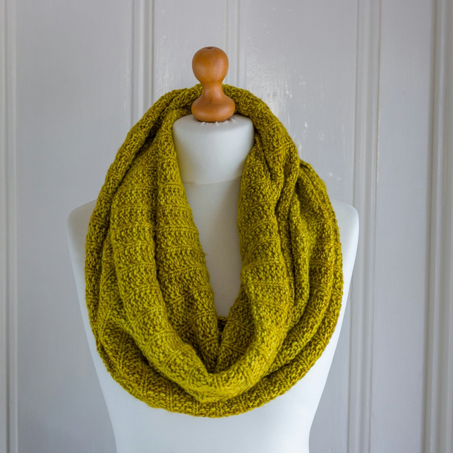 Reversible cowl or scarf in super soft pure merino wool, handknit in ochre shade