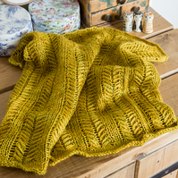 Handknit Cowl in a golden yellow with a slight green cast