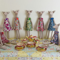 Tilda Fox figures in Liberty Tana Lawn dresses, based on Jane Austen characters