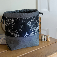 Drawstring project bag made with elegant monochrome fabrics in glamorous shades