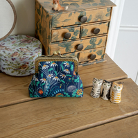 Coin purse made with Alpine Pasture print Liberty Tana Lawn and golden lining