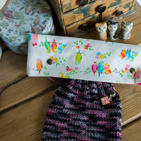 DPN holder, cosy or case made with Kokka Japan cotton in a fun Budgie print
