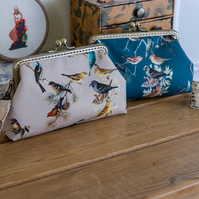 Wristlet purse or small clutch made with pretty digital printed bird lawn