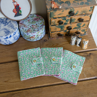 Tea bag case, holder or wallet made with pretty Liberty of London cotton prints
