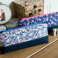 Zip pouch in a really useful size made with Rifle Paper Co Les Fleurs Rosa print