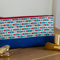 Zip pouch in a really useful size featuring a Scandi style fishes print