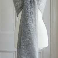 Bridal shawl - Silver grey coloured crochet lace wedding shawl in mohair silk